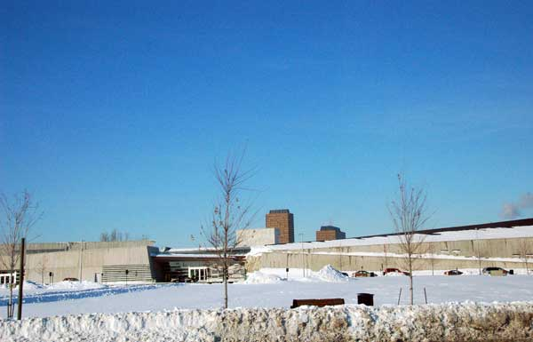 Canadian War Museum disappearing into the Ottawa winter landscape