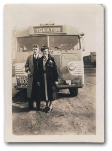couple in front of Yorkton-bound bus, 1938